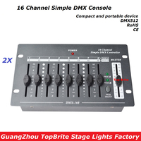 Free Shipping 2XLot 16 Channels Simple DMX Controller Stage Lighting DJ Equipment DMX 512 Console For