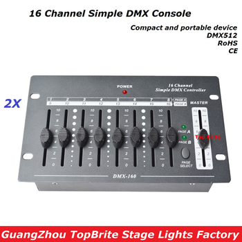 Free Shipping 2XLot 16 Channels Simple DMX Controller Stage Lighting DJ Equipment DMX 512 Console For Led Par moving head Light|Stage Lighting Effect|Lights & Lighting -