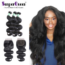3 Bundles With Closure Brazilian Body Wave Human Hair Bundles With Closure Remy Hair Sunper Queen(China)