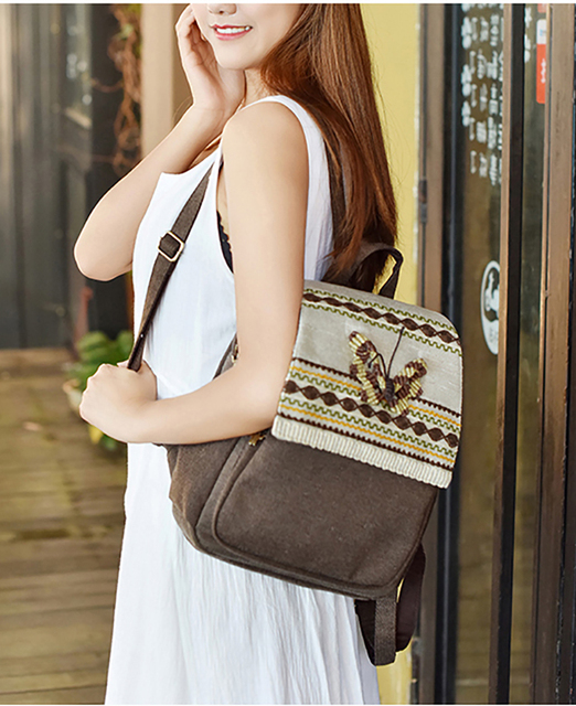 Women Handmade Featured Embroidery Backpack Canvas Ethnic Shoulder Grace National Bagpack Brand Wax Thread Hand-woven Lady Bag