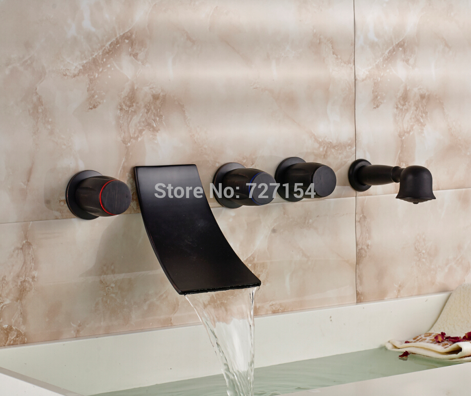 Oil Rubbed Bronze Bathroom Tub Faucet Wall Mount Waterfall Mixer W/ Hand Shower