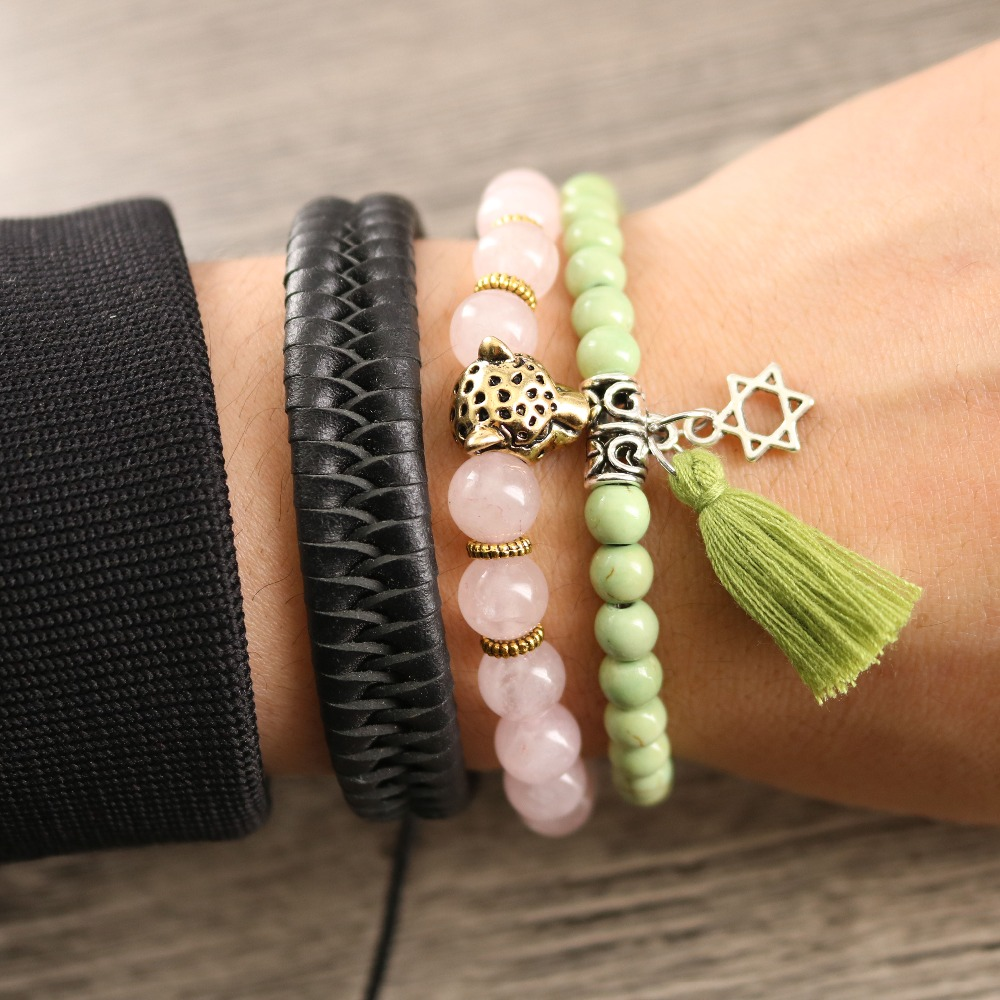 Womens Jewelry Wholesale 8 mm Pink Crystal Natural Stone Leather Weave Bracelet Tibetan Six Hexagram Charm Green Tassel Dangle