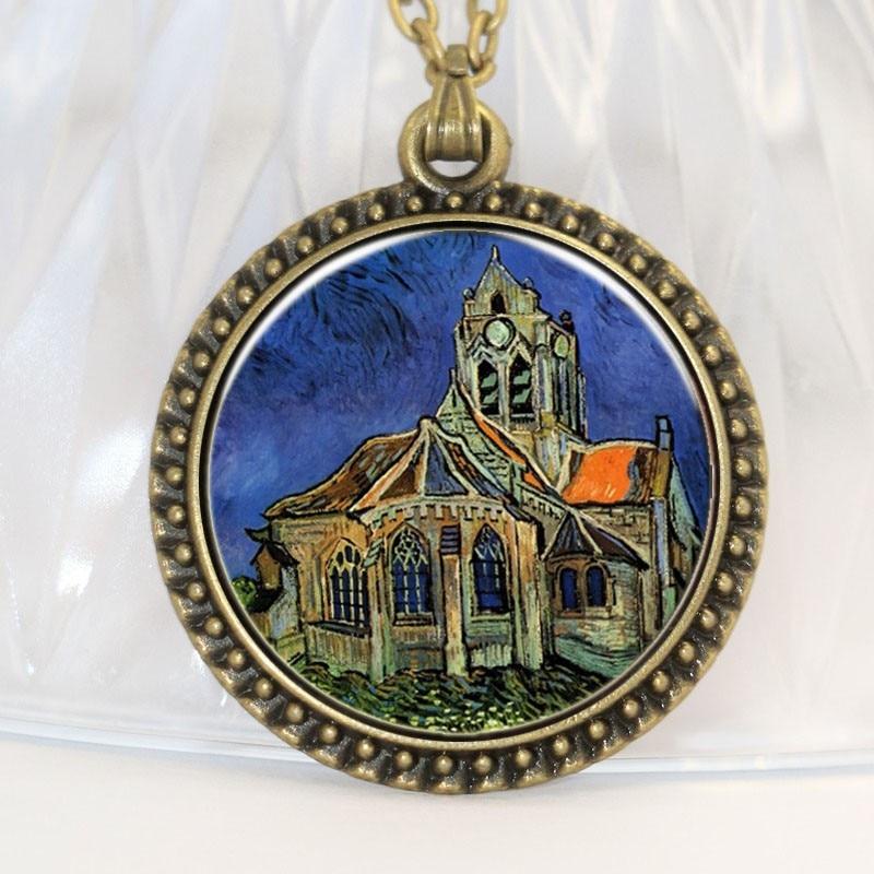 Inveroo Art Picture The Van Gogh The Church at Auvers Necklaces Pendants Antique Bronze Glass Photo Pendant Necklace Jewelry