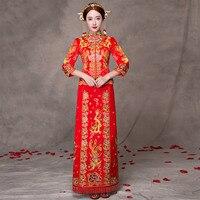 Czerwony Nowoczesne Qipao Formalna Chiński Tradycyjny Strój Długo Qipao Suknia Ślubna Orientalne Jedwabiu Dragon Phoenix Hafty Qi Pao