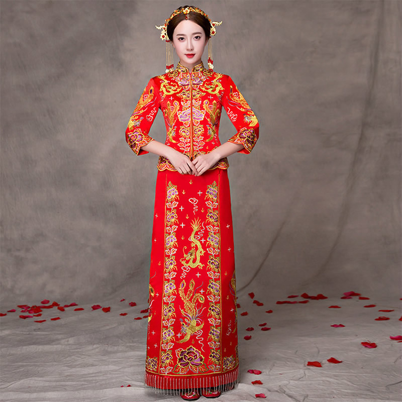 Red Modern Cheongsam Formal Chinese Wedding Gown