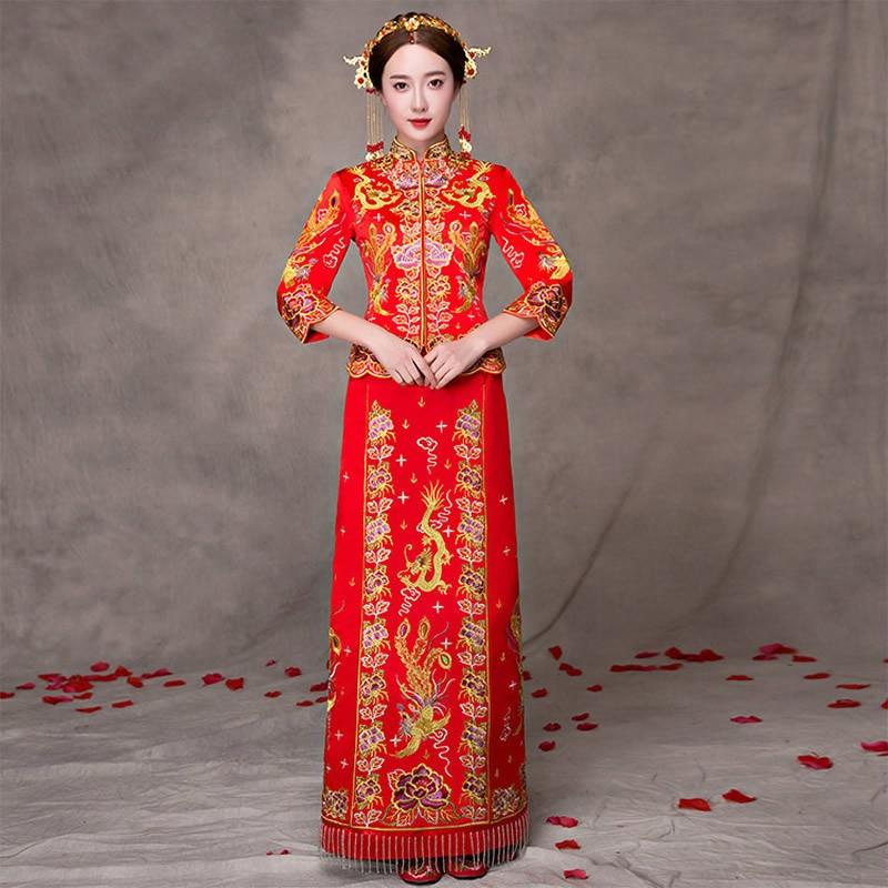 Qipao Wedding Gown: Red Modern Cheongsam Formal Chinese Wedding Gown