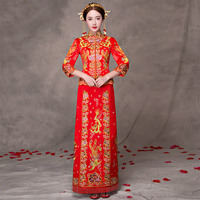 Red Modern Cheongsam Formal Chinese Wedding Gown Traditional Dress Long Qipao Oriental Silk Dragon Phoenix Embroidery