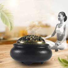 Burn Black Glaze Ink Disc Censer Ceramic Incense Burner Incense Seat Indoor Household Home Decoration for Incense C