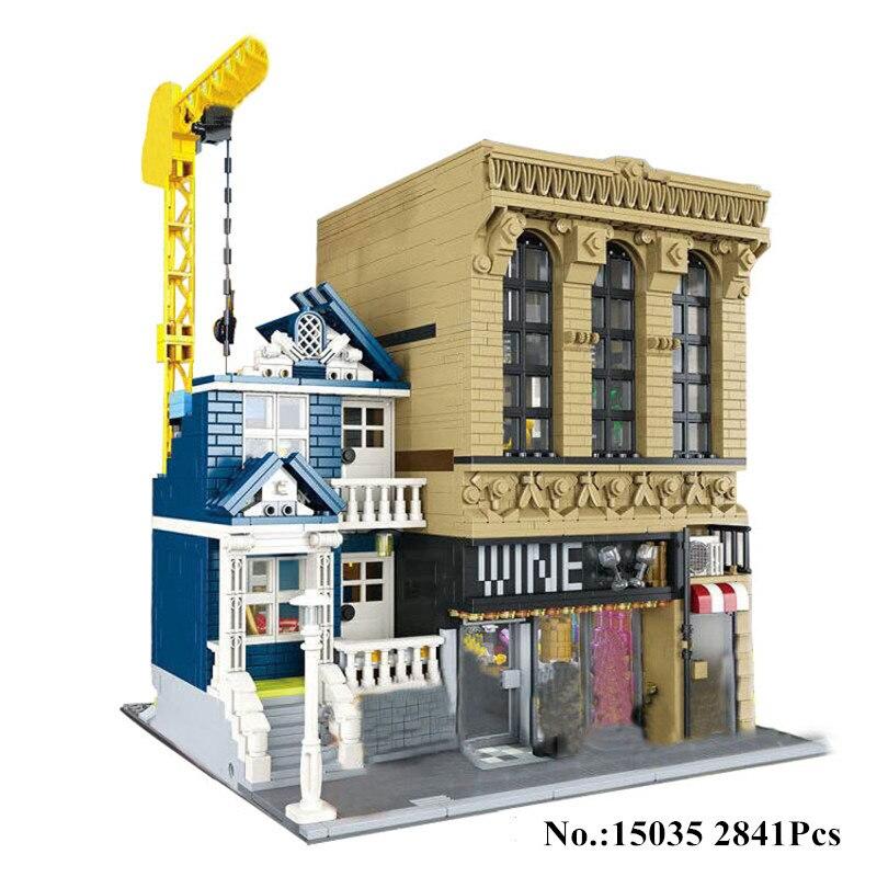 H&HXY 15035 2841Pcs Creative MOC The Bars and Financial Companies Set Children Educational Building Blocks Bricks LEPIN Toys