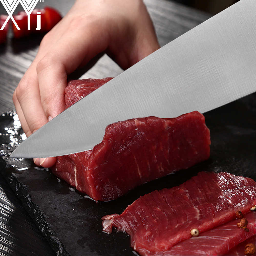 XYJ สแตนเลสมีดหั่นขนมปังเชฟ Santoku ยูทิลิตี้มีดครัวชุดญี่ปุ่น Professional อุปกรณ์เสริม