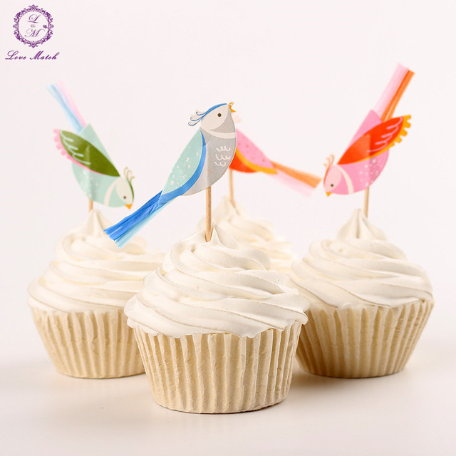 24pcs Party Supplies Bird Shape Cupcake Toppers Picks Decoration For
