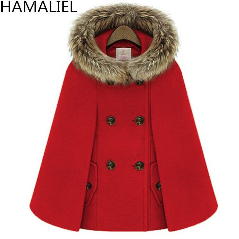 Осенне-зимний двубортный плащ-накидка, шерстяное пальто для женщин, красное твидовое пончо с меховым капюшоном, Толстая теплая Свободная верхняя одежда с рукавами «летучая мышь» - Цвет: Красный