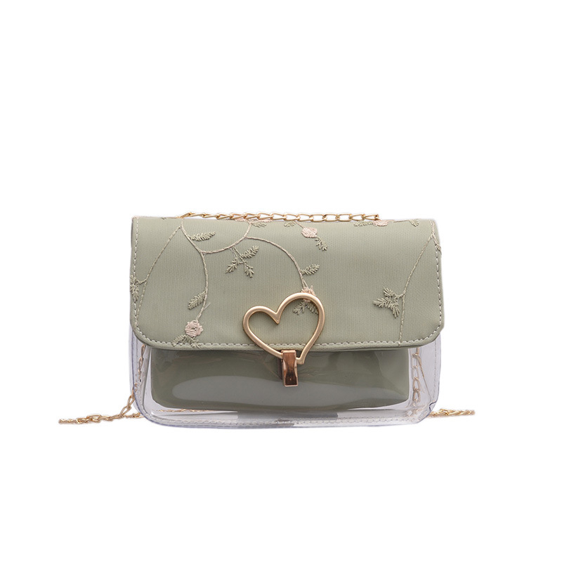 Embroidered Transparent Jelly Bag Messenger Wild Ins Chain Small Square Shoulder Summer New Women 2019
