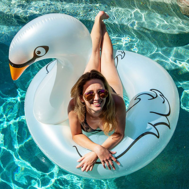 115*96cm Giant Pearl White Swan Swimming Ring Ride-on Inflatable Pool Float Beach Water Party Toys Air Mattress Lounger Boia