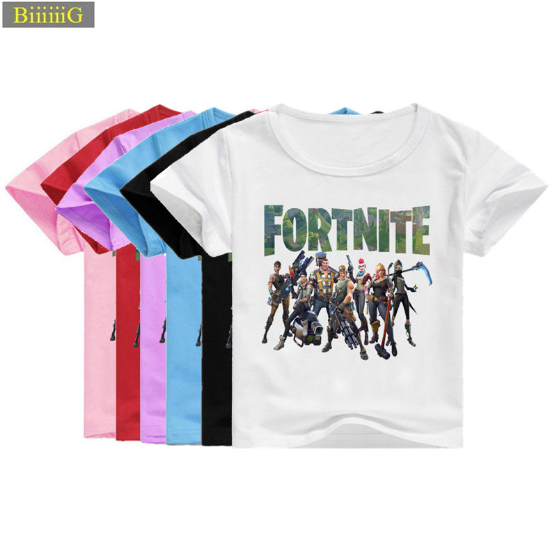 90-155cm Fortnite Role Print T Shirt Summer Boys Tshirt Natural Cotton Cartoon Girl Blouse Clothes for Kids Top Toddler Clothing