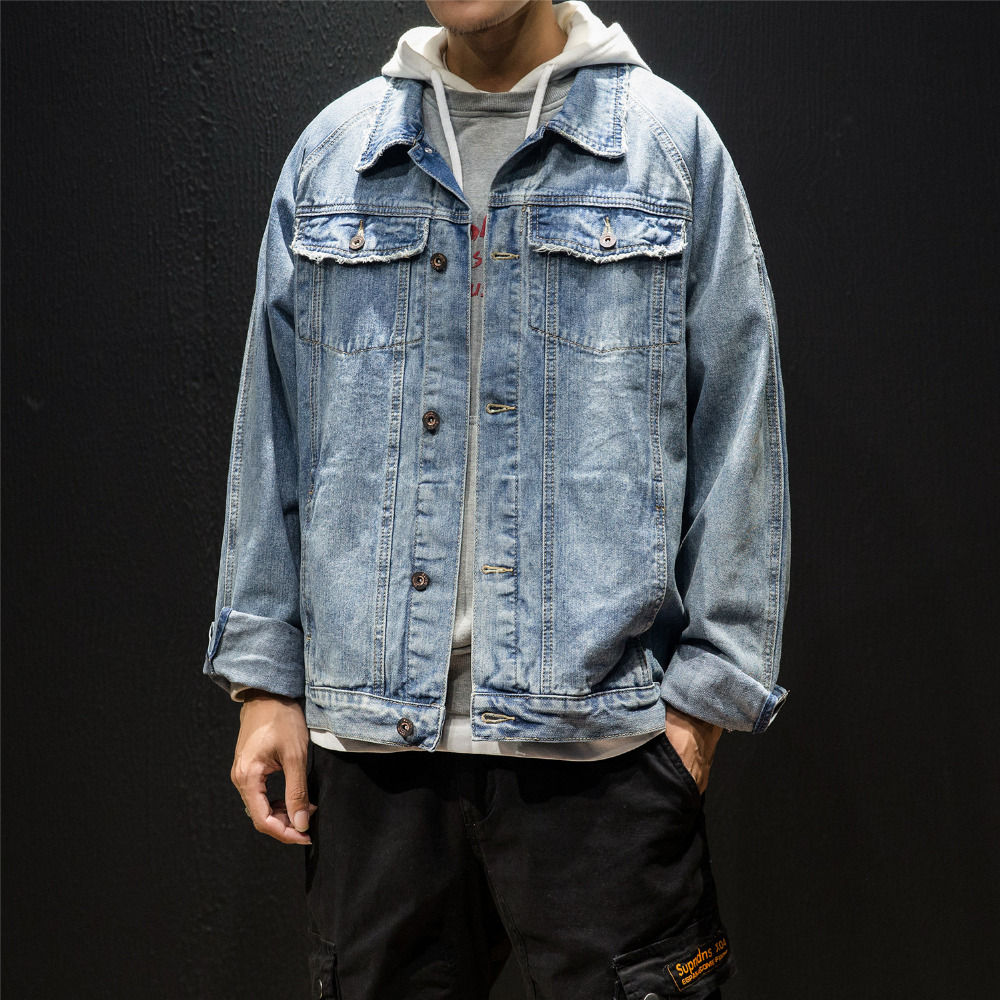 Japan Style Autumn New Jeans Jacket Men Brand Fashion 2018 Long Sleeve Denim Mens Casual Jackets Turn Down Collar Windbreaker
