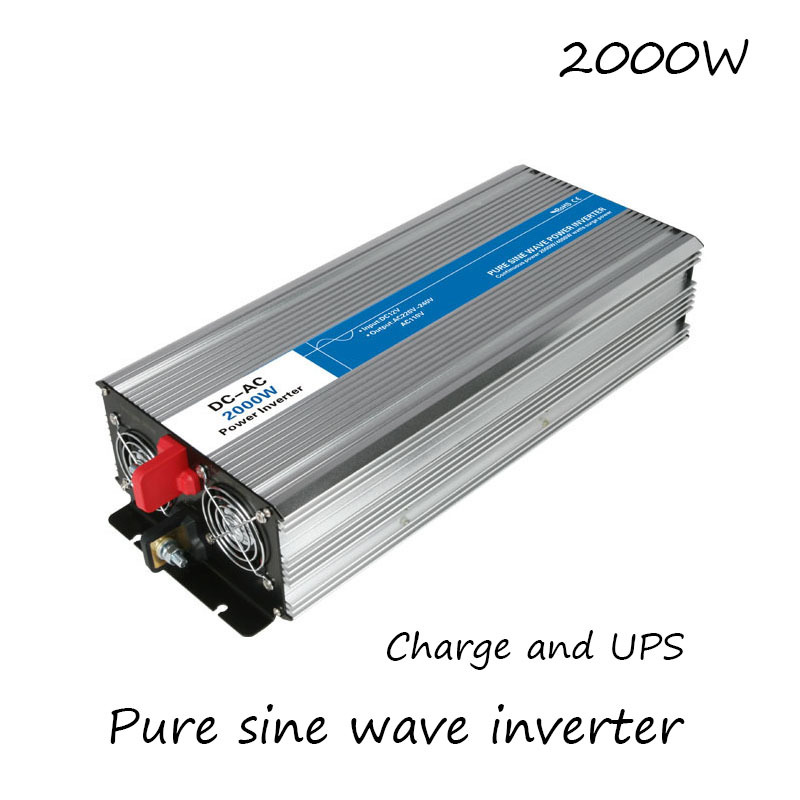 DC-AC 2000W Pure Sine Wave Inverter 12V To 220V Converters With Charge UPS Electric Power Supply LED Digital Display USB China