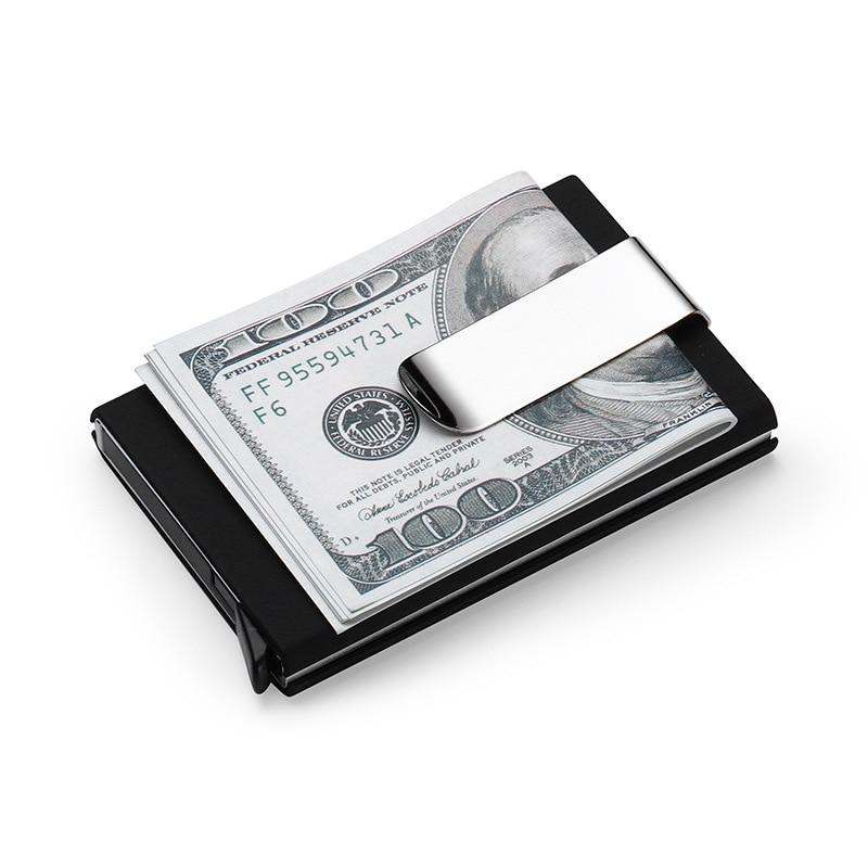 High QualitId Men's Wallets Credit card holder Automatic card sets business aluminum wallet card sets cash clip holder