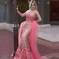 Color de Rosa caliente Selena Gomez Celebrity Vestido Sirena Con Appliques 2017 Vestido de Noche de Manga Larga Vestidos de Baile de Tul Envío Libre