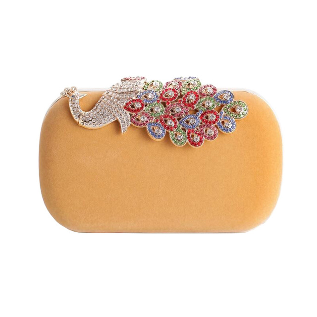 Hot 2016 Peacock Clutch Bags Colorful Diamond Evening Bag Suede Purse Crystal Evening Clutch Bag Lady Wedding Party Handbag