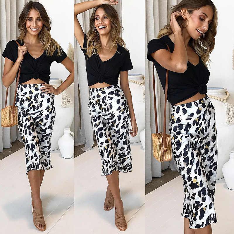 cba50088b8 ... BOOFEENAA Leopard Print Mid-calf Casual Skirt Loose Satin Silk Fashion  Fall Skirts Womens Sexy ...
