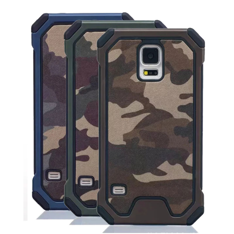 Case For Samsung Galaxy S4 S5 mobile Phone bag Military Camo PC + Soft Silicon Camouflage Cover For Samsung S4/S5
