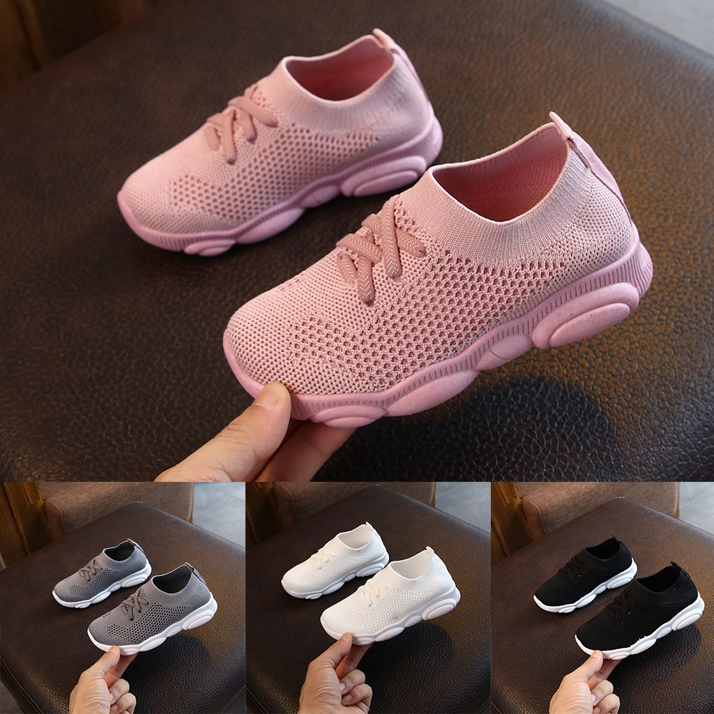 2020 Fashionable Children Infant Kids Baby Girls Boys Solid Stretch Mesh Net Breathable Sport Run Sneakers Shoes Sapato Infantil
