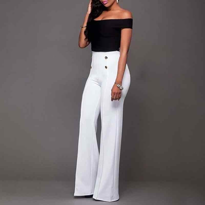 db5e2305260 ... 2019 модные брюки Труба Длинные брюки Женщины Высокая талия Молния fly  широкие брюки тонкие брюки белый ...