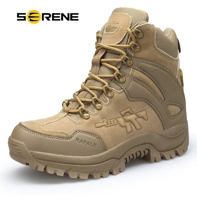 SERENE Marka erkek Botları Askeri boot Savaş Erkek Chukka Ayak Bileği Bot Taktik Büyük Boy Ordu Bot Erkek Ayakkabıları Güvenlik motosiklet Çizmeler