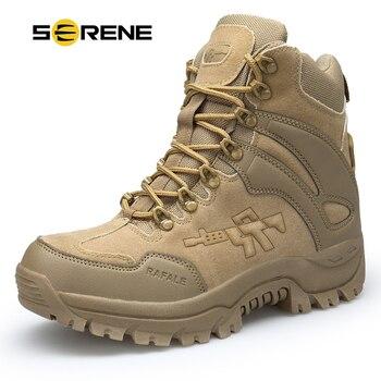 SPOKOJNY Marki męskie Buty butów Wojskowych Walki Męskie Chukka Kostki Bot Taktyczne Duży Rozmiar Armii Bot Mężczyzna Buty Bezpieczeństwa buty motocykl