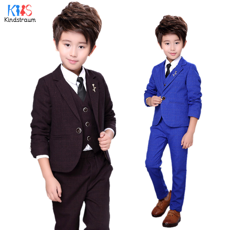 Kindstraum Kids Formal Clothing Sets Boys Wedding Suits Plaid 3pcs Blazer+Vest+Pant Gentleman Fashion Children Party Wear, MC914 kindstraum school trend boys formal clothing suits shirt vest pants tie 4 pcs set children sets party