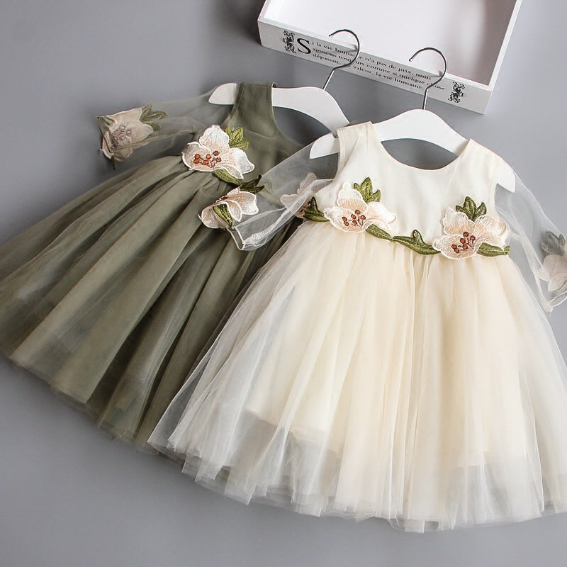 موضة جديدة الترتر زهرة اللباس حفل زفاف عيد الأميرة طفل رضيع الفتيات ملابس الأطفال أطفال فساتين ليكرا
