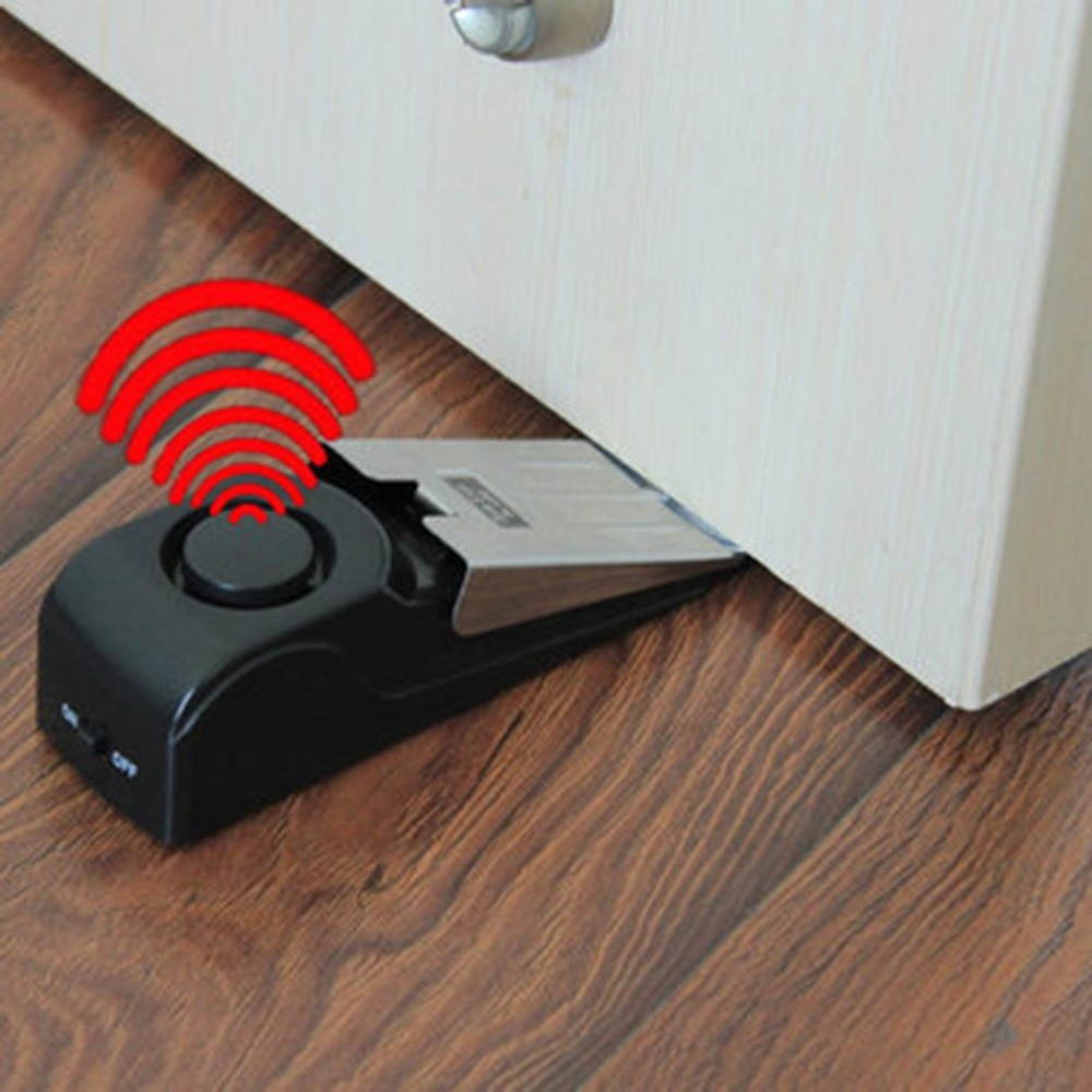 Mini Wireless Vibration Triggered Door Stop Alarm Home Wedge Shaped Stopper Alert Security System Block Blocking System Black 120db door stop alarm home security wedge shapped stopper blocking system for travelling