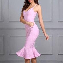 INDRESSME Elegant Women Bandage Party Dress Sexy Deep V Spaghetti Strap Backless Midi Mermaid Lady Dress Femme Vestidos New