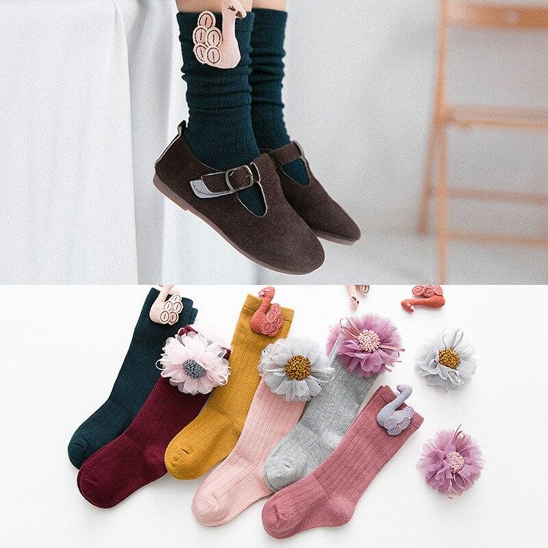LAWADKA Cotton Kids Socks Princess Long Socks Girl Children's Knee High Socks Girl Socks Children Flowers Swans Style 1-8 Years 5