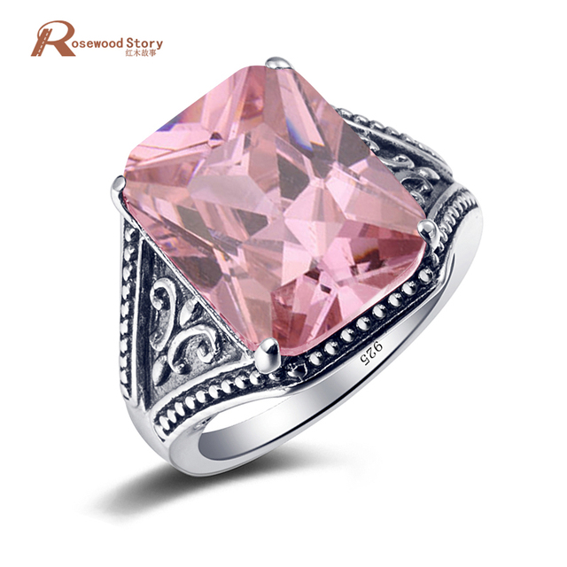 lovely vintage handmade pink rhinestone crystal wedding rings 925 silver women ring russia usa holiday gift - Crystal Wedding Rings