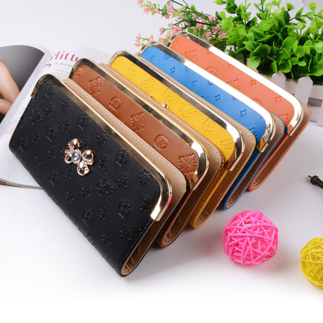 fa1b0ab4d9fbe Fashion Women Wallets Dull Polish Leather Wallet Double Zipper Day Clutch  Purse Wristlet Portefeuille Handbags Carteira Feminina