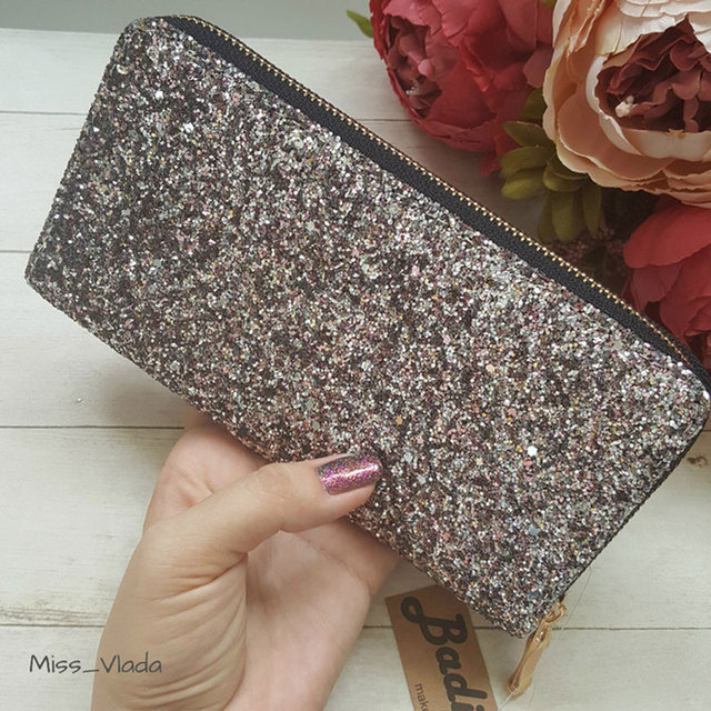 Long Wallet Sparkly Sequined Leather Ladies