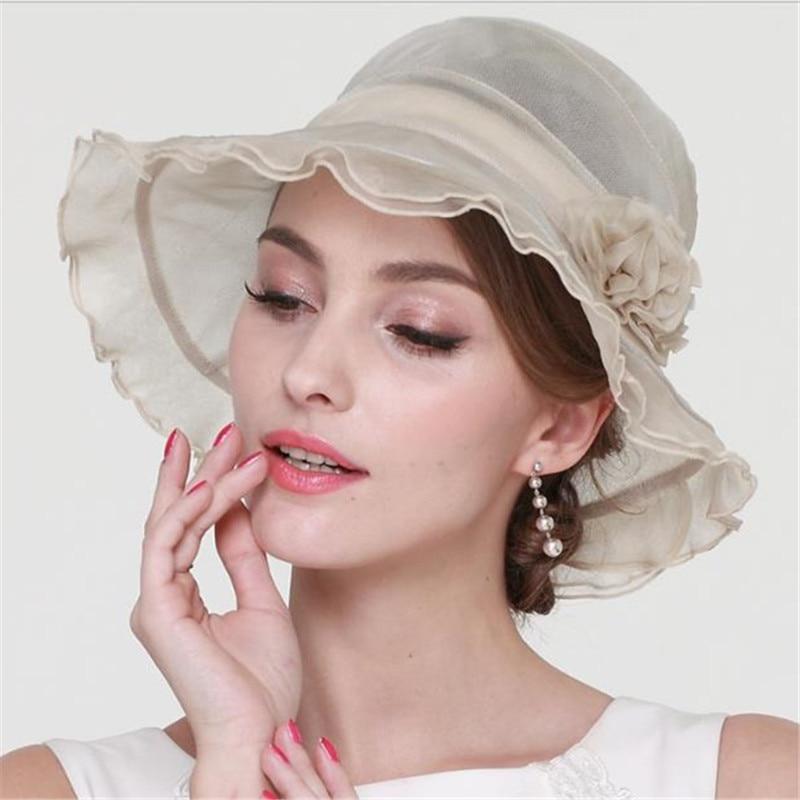 LEAYH Marque 100% Soie Chapeaux chapeau de protection solaire Femmes D'été Plage casquettes de protection solaire Pour Les Femmes De Mode Vêtements Accessoires