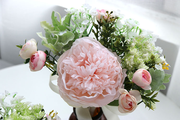 Wedding Bouquet for bridesmaids flowers artificial rose peony (9)