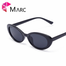 MARC 2018 Fashion Vintage Woman's Sunglasses Reflective Flat Lens Plastic Tourism Sunglasses Multi-color Oval Gray Pink Resin