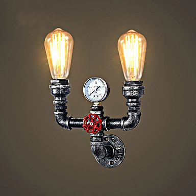 2 heads Retro Vintage Wall Lamp Home Lighting Restaurant Cafe Water Pipe Wall Light Fixture Loft Industrial Wall Sconces black color pipe retro loft vintage iron shade wall lamp sconces industrial home lighting fixture for living room free shipping
