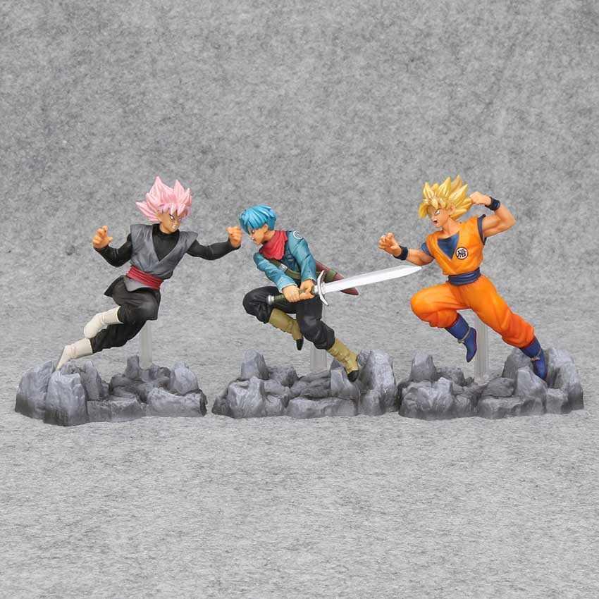 3 pçs/set Super Dragon Ball Super Saiyan Goku Son GoKu Trunks Preto PVC Action Figure Collectible Modelo Toy 13-15 cm