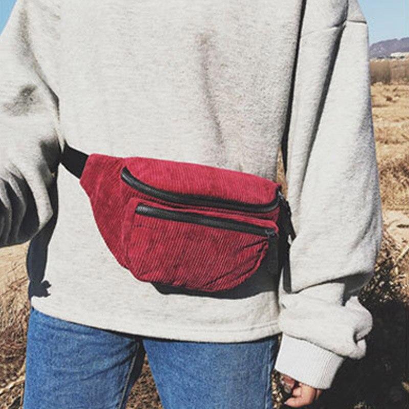 Unisex Waist Pack Bag For The Belt Trend Fanny Packs Banana Bags Corduroy Material Chest Bag Shoulder Messenger Package Hip Pack