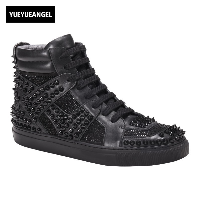 2018 New Punk Style Rivet High Top Mens Shoes Gothic Black Genuine Leather Male Trainer Sneakers High Street Brand Lace Up Shoes 2018 spring street flat genuine leather rivet women shoes high quality punk style hip hop round toe buckle high top sneakers