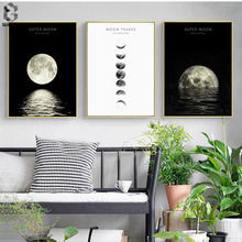 Phases of the Moon Print and Poster, Wall Art Paintings for Living Room Nordic Decoration, Canvas Picture Christmas Decor