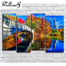 FULLCANG diy diamond painting 4 pcs arch bridge full square mosaic cross stitch 5d embroidery scenery E1500