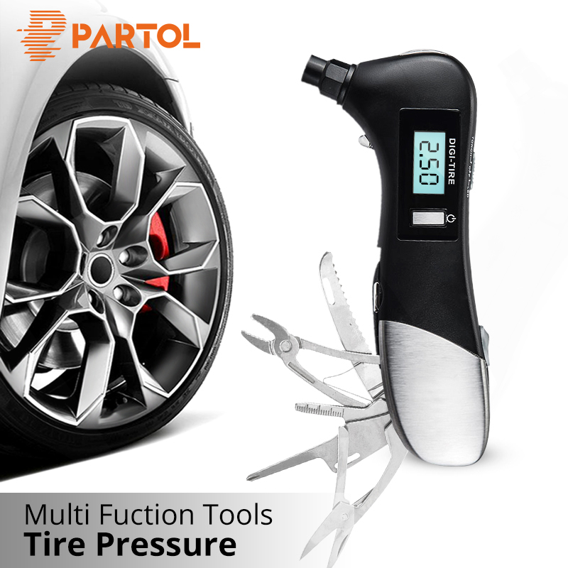 Partol 9 in 1 Digital Tire Pressure Alarm Gauge Multifunctional Tyre Pressure Sensor Tpms Systems w LED Flashlight Car Hammer