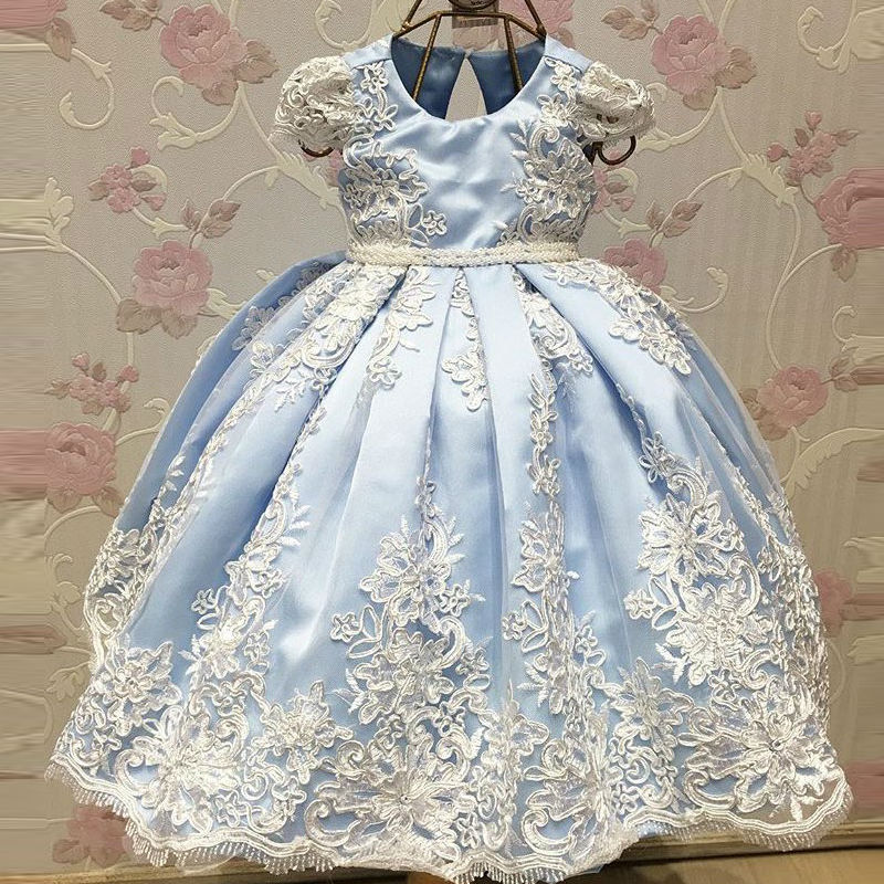 2017 New Arrival Ball Gown   Flower     Girl     Dresses   Blue Spring Pretty   Flower     Girls     Dresses   Custom With Applique Kids Evening Gowns