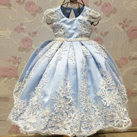 2017 New Arrival Ball Gown Flower Girl Dresses Blue Spring Pretty Flower Girls Dresses Custom With
